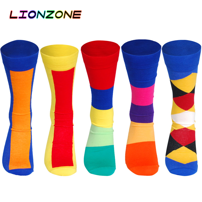 LIONZONE Mens Casual Flag Socks Funny Striped High Quality Meia Skate Combed Cotton Straight Long Tube Socks Lot