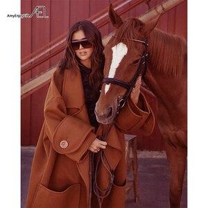 Image 3 - AEL Winter womens Coat plus thick Oversize Big Turndown Collar Woolen Overcoat Hight Quality Female Camel Wool Coat Plus Size