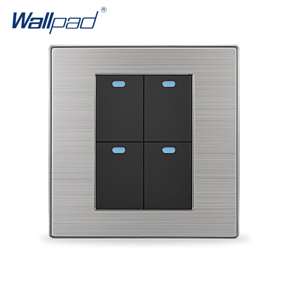 2018 Hot Sale 4 Gang 2 Way Wallpad Luxury LED Wall Light Switch Push Button Switches Interrupteur 10A AC 110~250V krst luxury led lighting switch 2 gang 1 way 2 ways n ways push button wall switches ac 250v 10a 86x86mm popular