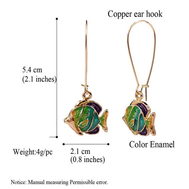 Fish Enamel Earrings for Women