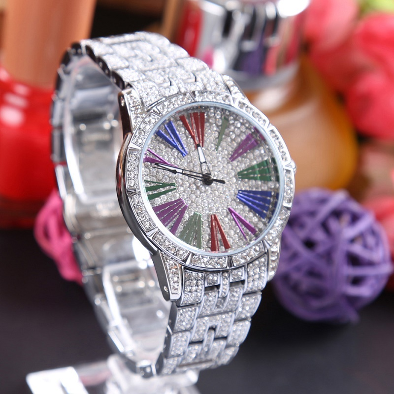 Colors Dial Fashion Women Watches Top Brand Luxury Diamond Gold Wrist Watch Women Waterproof 2017 fashion relogios masculino