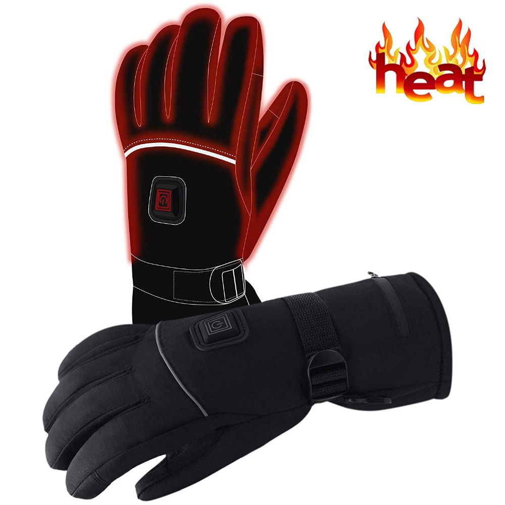 7.4V Battery Heated Electric Gloves Christmas Gift Winter Gloves, Waterproof Electric Heating Gloves Women Men