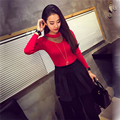 Women Mesh Sheer Splicing Pullover Knitted Sweater Long Sleeve Slim Base Shirts Tops shirts