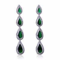 DreamCarnival1989 Long Tear Drop Earings For Women Green Blue Red Purple Clear White CZ Rhodium Gold