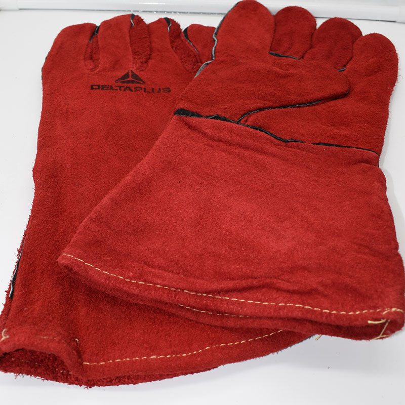 Deltaplus welding gloves welder's cowhide high temperature resistance wear-resistant long design wear-resistant work gloves high quality hand tool gloves 12 pairs 700g cotton gloves wear resistant work thick gloves against high low temperature gloves