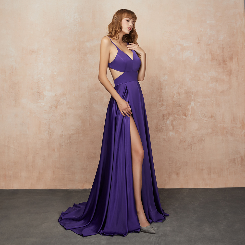 VKbridal Sexy High Slit Prom Dresses Party Gowns Navy Blue 17 color Cut Waist Plus Formal Dresses Deep V neck Evening Dress 2019 in Evening Dresses from Weddings Events