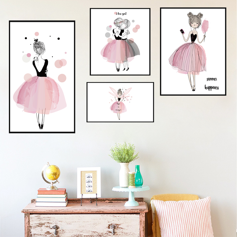 Danza Niñas Lienzo Pintura Nórdica Carteles E Impresiones Art Wall - Decoración del hogar