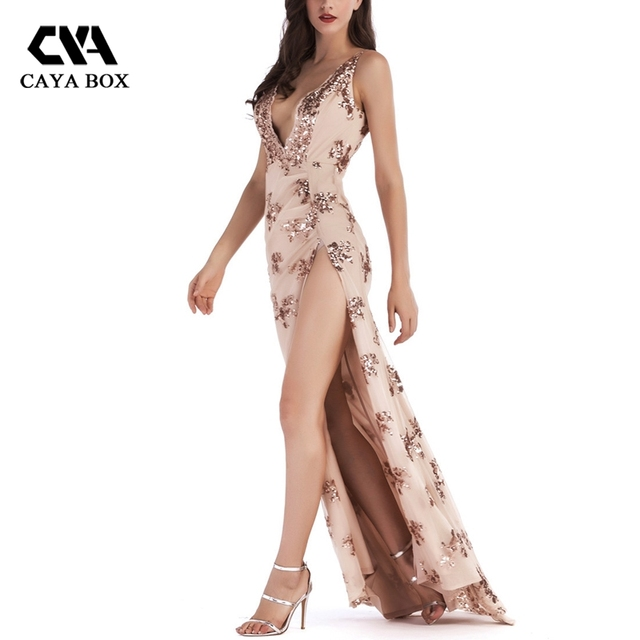 CAYA BOX Rose Gold Little Sequins Dress Sexy Halter Deep V-neck Split Maxi  Dress Black Pink Lace strap Mesh Clothings For Party 0e20e66516ab