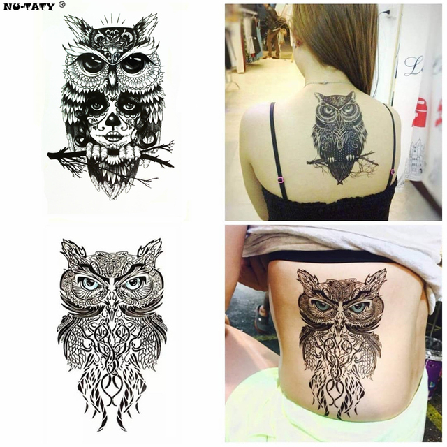 aa65c877e468c Nu-TATY Wise Owl two Temporary Tattoo Body Art Flash Tattoo Stickers  12*20cm Waterproof Fake Tatoo Car Styling Wall Sticker