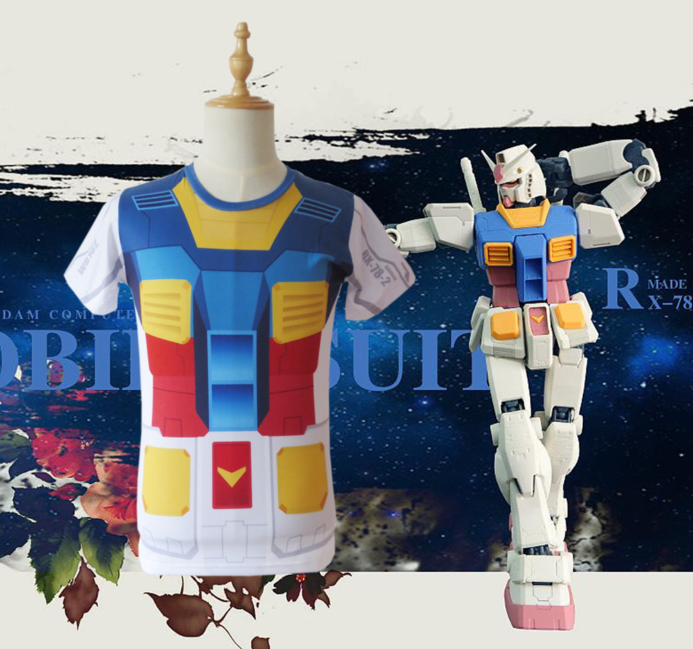 Free Shipping Mobile Suit Gundam RX-78-2 Summer T-shirt Anime Cosplay Costume/Cosplay Bag