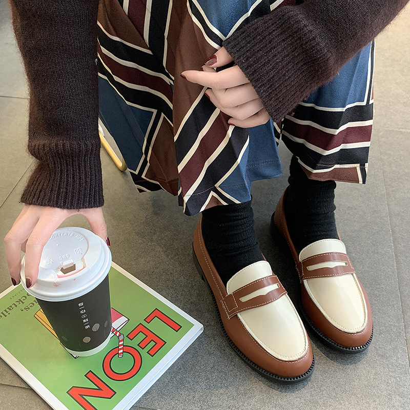2019 spring Korean version new ins shoes women 39 s retro stitching women 39 s loafers White collar student OL Literary Fan Ping shoes in Women 39 s Flats from Shoes