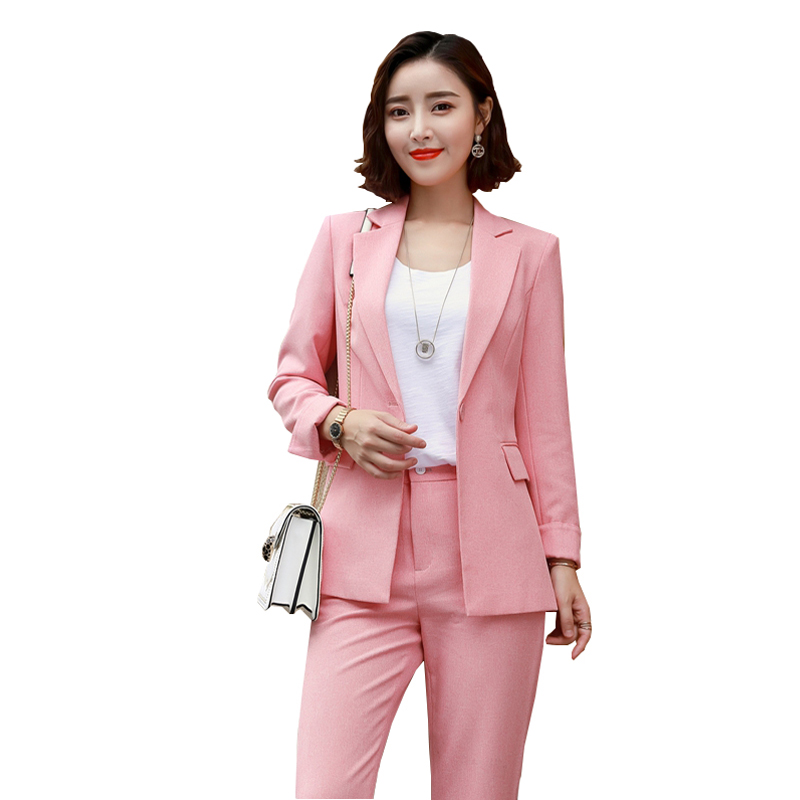 Pink Suits Lavender Purple/Pink Office Uniform Long Sleeve Women Ladies Sweet Blazer + Pant Or Skirt Two piece Suit Size S 4XL