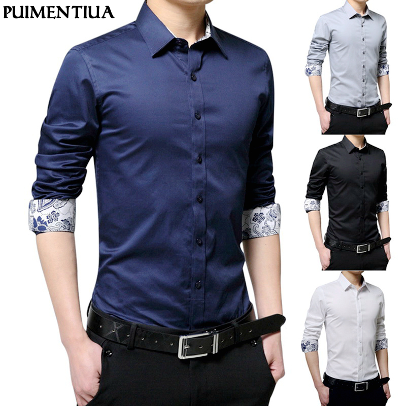 Puimentiua Men's Autumn Fashion Solid Long Sleeve Formal Shirts For Men Male Basic Turn-down Collar Business Dress Shirts Tops