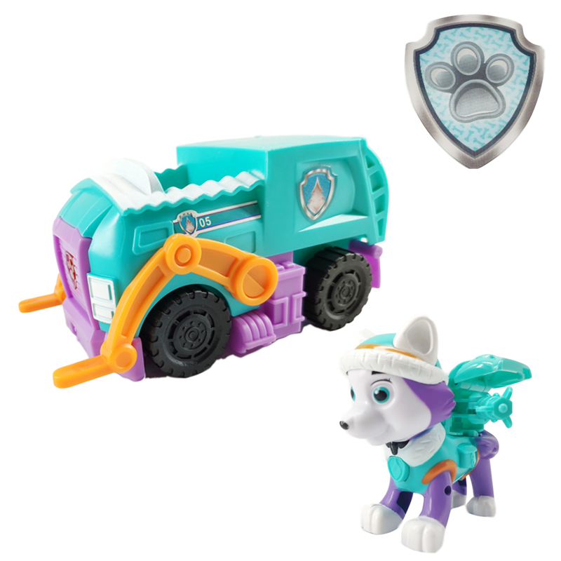 Paw Patrol New Dog Everest Puppy Pull Back Music Patrol Car Patrulla Canina PVC Doll Toys Action Figure Model Toy Kid Gift