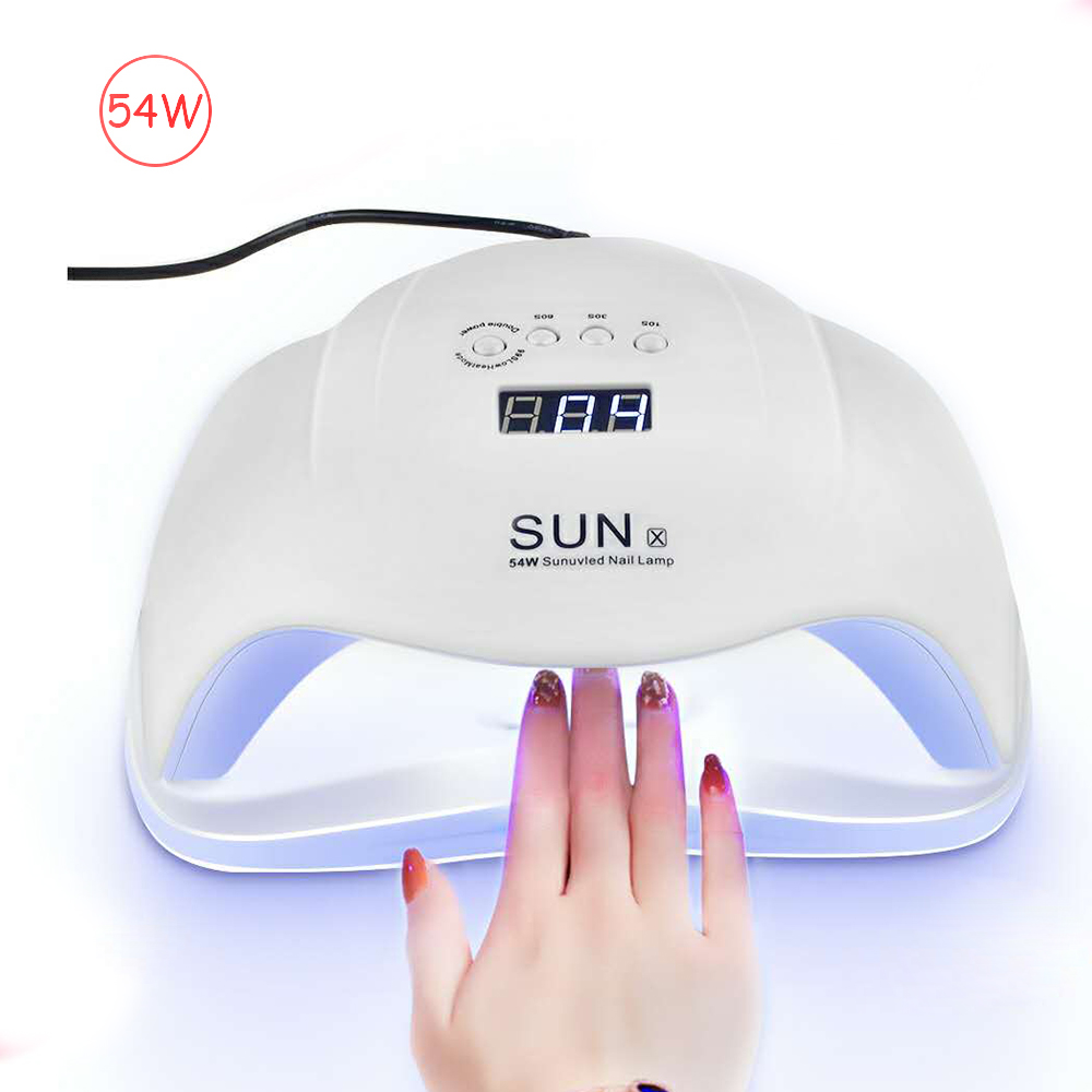 SUNX 54/72/40/36W UV LED Nail Lamp For Manicure Nail Dryer For All Gels Polish Two Hand Lamp Infrared Sensing 10/30/60s LCD