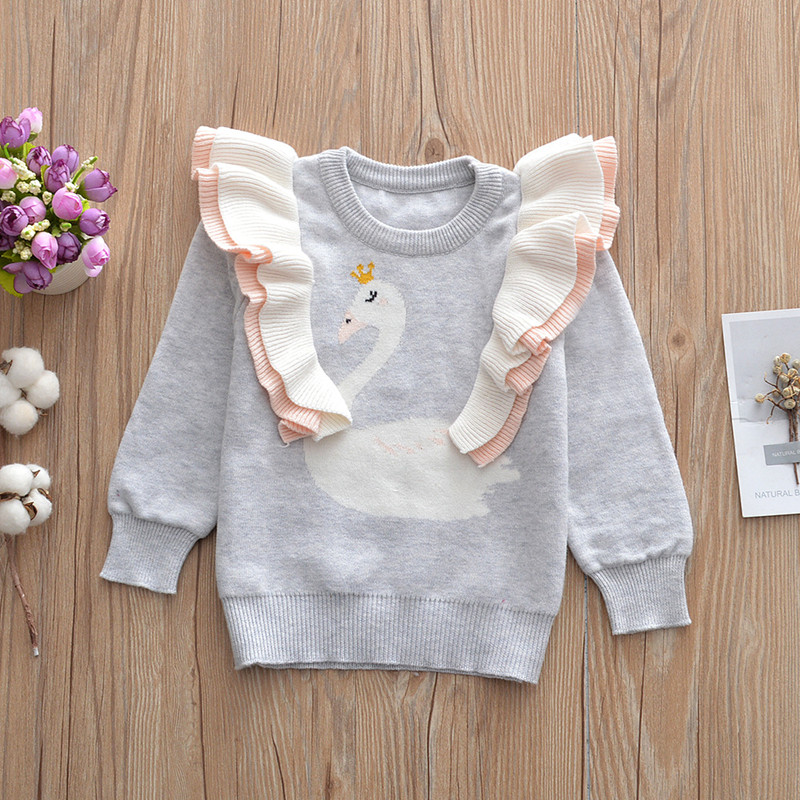 Baby Girl Sweater Flamingo Baby Girl Cardigan Woolen Toddler Sweater For Girls Baby Clothes for Girls Pullovers Baby Kid Sweater