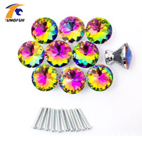 Hot Selling Fast Shipping 10 Pcs Multicolors Crystal Glass Clear Cabinet Knob Drawer Pull Handle Kitchen