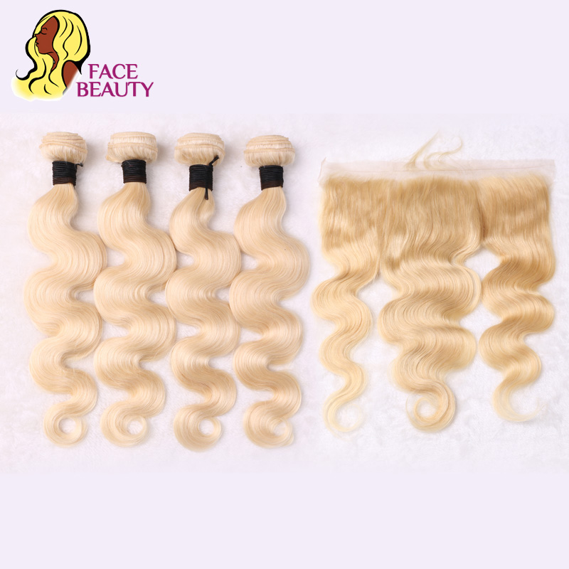 Facebeauty 613 Blonde Hair Weave Remy Brazilian Body Wave Bundle with 13x4 Ear to Ear Lace