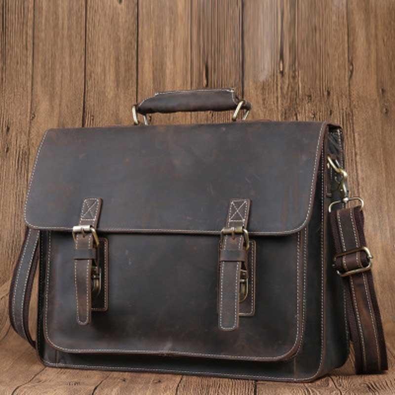 YISHEN Vintage en cuir véritable hommes porte documents mode sacs à main décontractés homme épaule bandoulière sacs d'affaires Messenger sacs 6912-in Porte-documents from Baggages et sacs    2