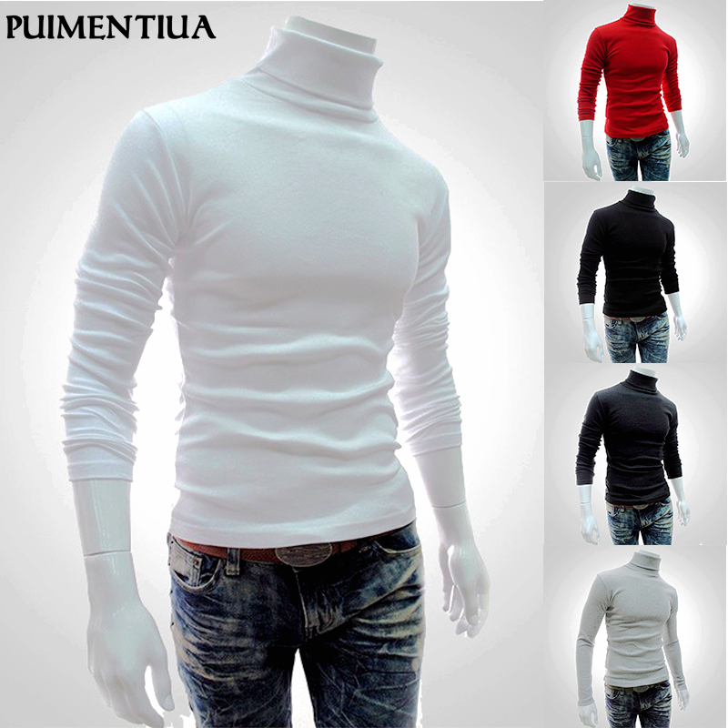 Puimentiua 2019 Autumn Winter Men's Sweater Males Turtleneck Solid Color Casual Sweater Homme Slim Fit Knitted Cotton Pullovers