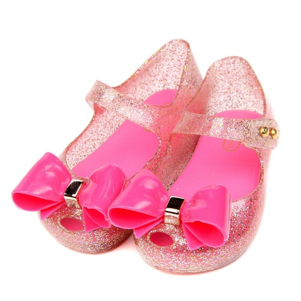 summer 2018 Mini Melissa Jelly Girls Sandals For Baby Girls Big Bowtie Sandals Children Melissa Plastic Kids Infantil Shoes
