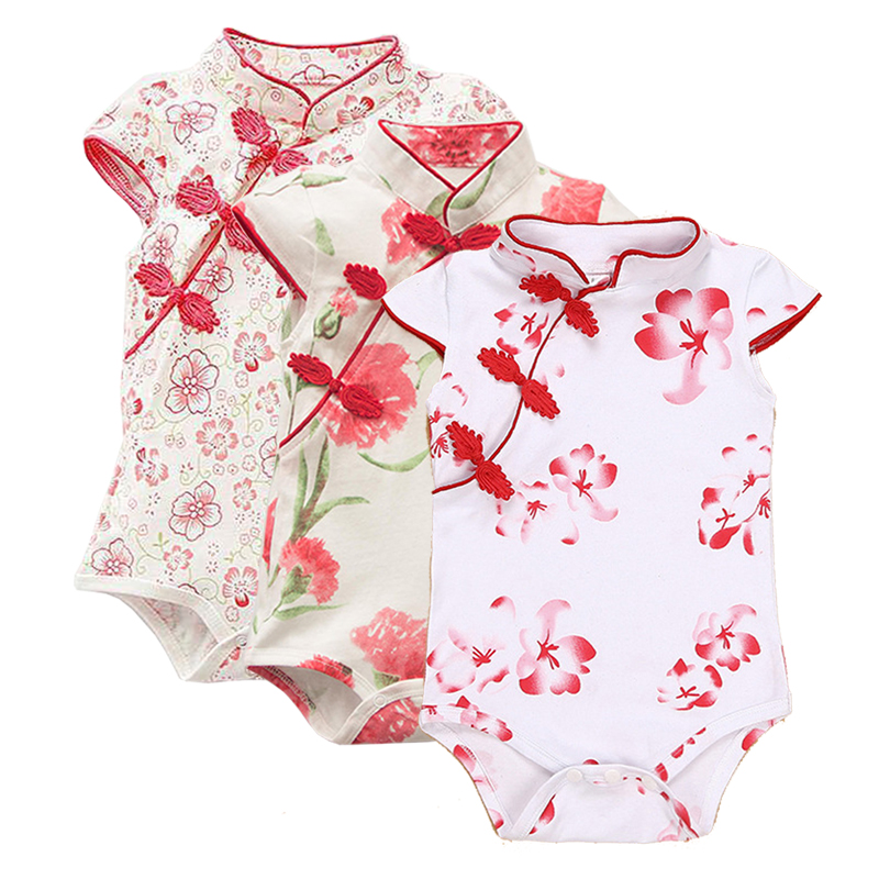 Summer Baby Girl Clothes Romper Baby Girl Cotton Print Dress Cheongsam Short Sleeve Infant Baby jumpsuit Toddle clothing Newborn