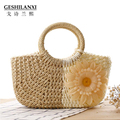 Special offer small sweet flowers hand bag straw bag sun flower colorful woven beach bag