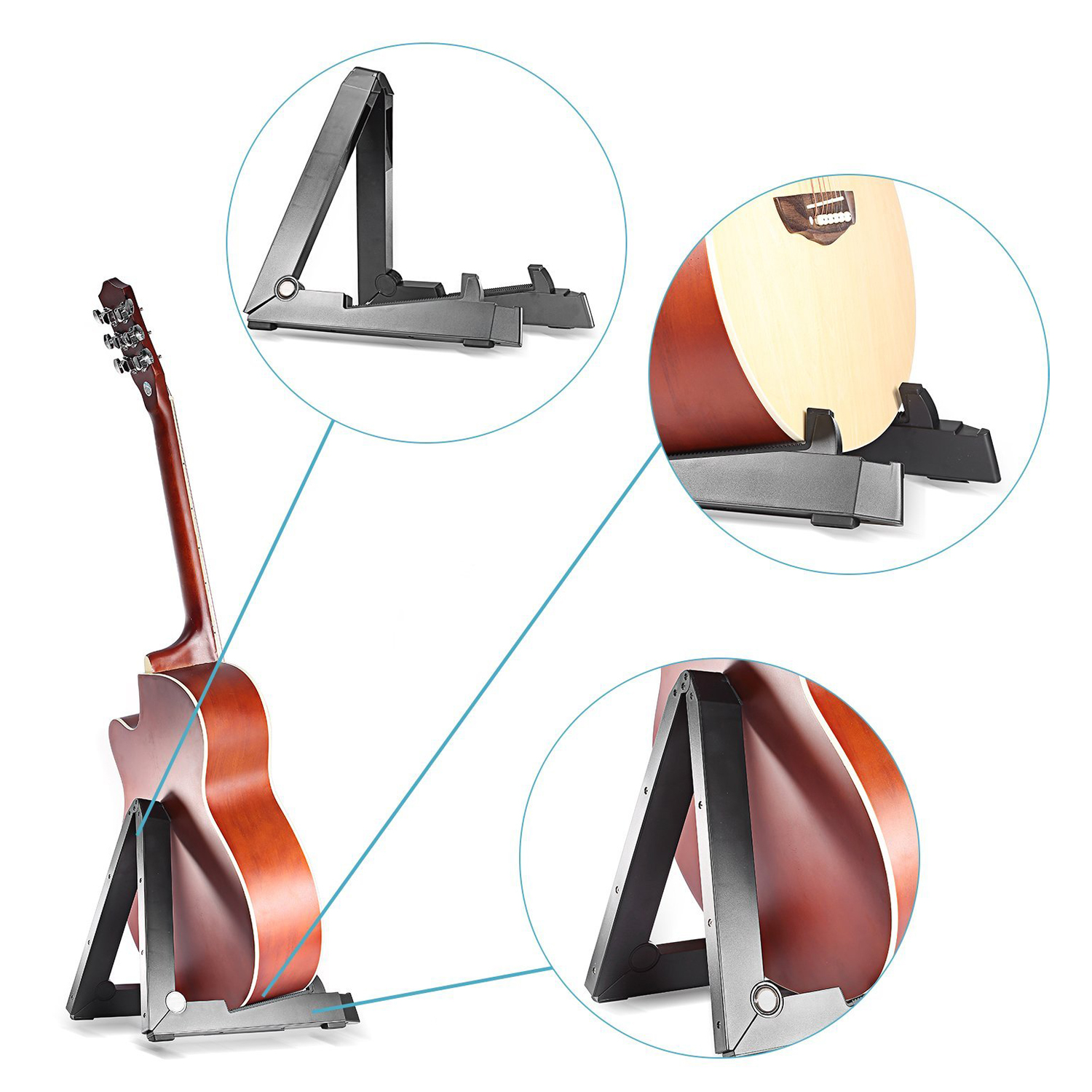 2 PCS of (Foldable Folding Lightweight Portable Guitar A-frame Stand for Acoustic Guitar,Classical,Electronic,Violin,Ukulele) 8pcs meideal capo10 clamp for ukulele and classical guitar