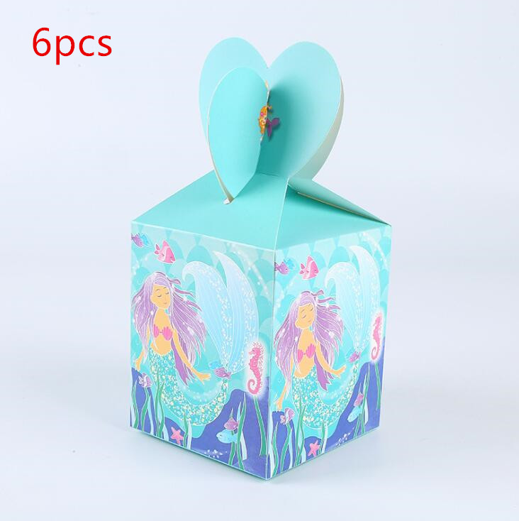 6pcs/lot New Arrive Lovely Mermaid Candy Box Birthday Party Decoration Baby Shower Kids Favors Mermaid Gift Paper Bag Supplies