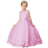 Crianças vermelho azul bege rosa roxo vestido de baile de comprimento chá de dama de honra júnior da menina de flor vestidos para casamentos formais