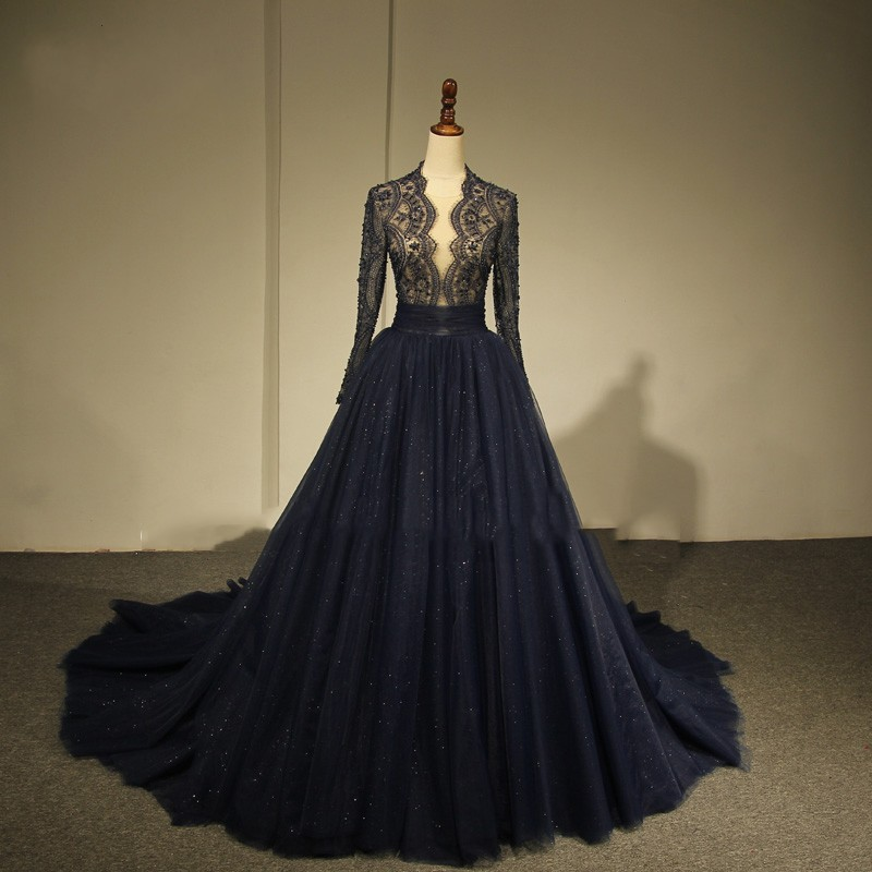 Modest Evening Dress Navy Blue Full Sleeves robe de soiree longue A Line Evening Dresses Beaded
