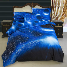 3D Universe Starry Sky Bedding Sheet Set Bedlinen Cosmos Night Duvet Cover Space Theme Twin Queen Size Bedsheet Pillowcase(China)