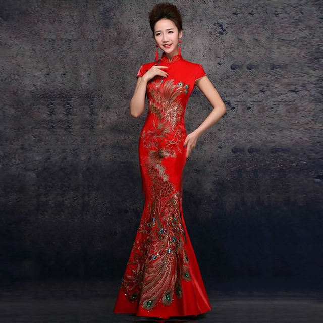 2016 Fashion Embroidery Qipao Dress Women Chinese Traditional Dress Long Cheongsams Evening Gown Red Bride Wedding Dress QL001