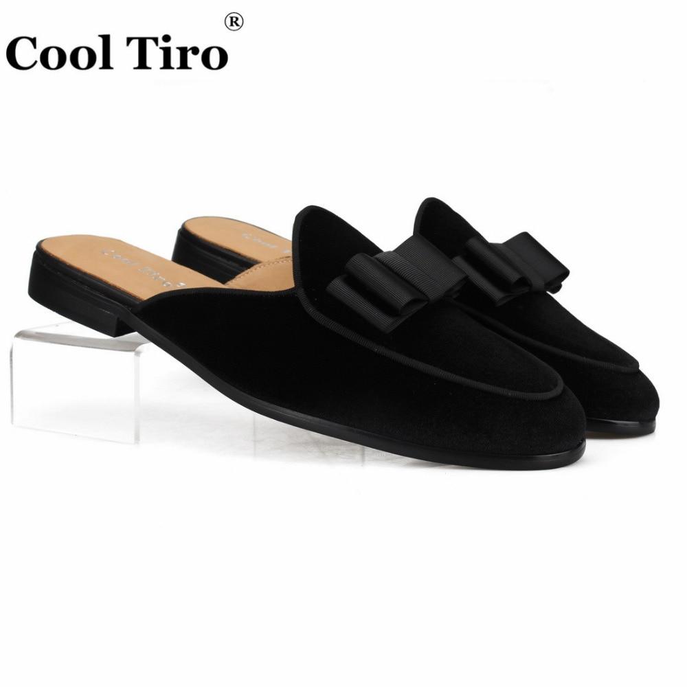 Cool Tiro Black Velvet Mules Men Slippers Moccasins Genuine Leather Casual Shoes Handmade Bow Tie Slip