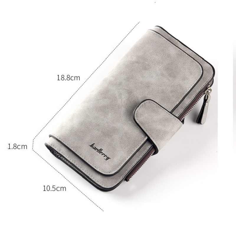 9e1fd95d63db ... 2019 новый кошелек для женщин большой ёмкость три раза леди кошельки  Высокое качество скраб кожа Женский ...