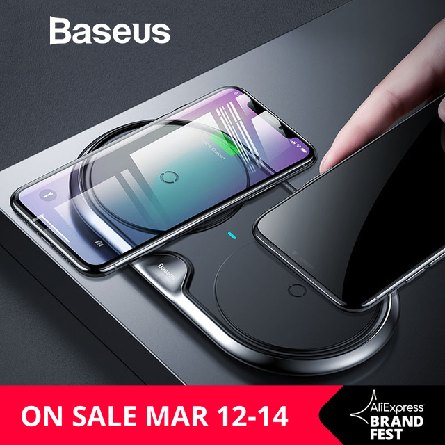 Baseus 10W Dual Seat Qi Wireless Charger For iPhone X 8 Samsung S9 S8 Note 8 Fast Charging