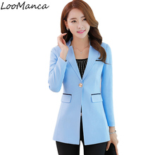 2017 New Womens Formal Suits Slim Feminino Korean Medium Long Ladies Blazers Plus Size Casual Blazer Long Sleeve Jacket Female