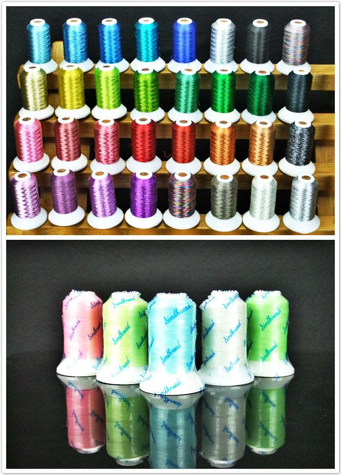 Metallic Machine Sewing Embroidery Thread Luxurious Thread Kit - 500m *32 Assorted Colors , High Luster , Strong Strength