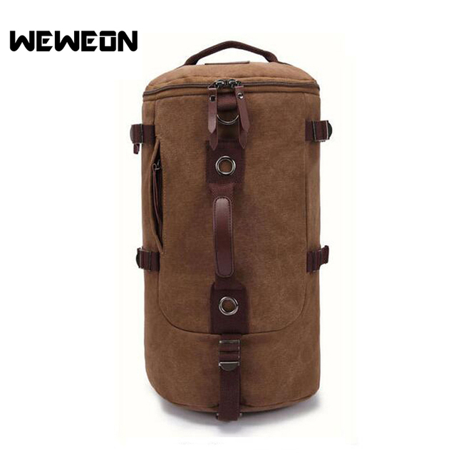 ceab181e046b 2 in 1 Men Canvas Bag Backpacks Extra Large Travel Gym Rucksack Convertible  Backpack Men Shoulder