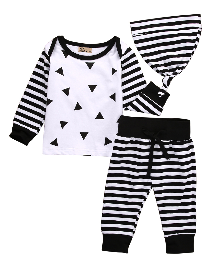 3PCS Leisure Infant Newborn Baby Boys Long Sleeve Tops+Striped X Print Pants +Hats Baby Clothes Outfits Set