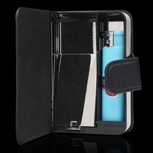 the latest 28bc9 cab37 US $10.65 |Holds 10 Cigarettes,Black PU Cigarette Box Case,PU Leather  Cigarette Case Wallet with Lighter-in Cigarette Accessories from Home &  Garden ...