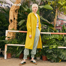 Samstree Spring Office Lady Trench Coat Waist Belt Simple Long Double Breasted Loose Female Yellow A-Line Outwear Coats