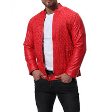 fashion mens leather jackets plus sizes plaid print motorcycle jacket for men good quality clothing