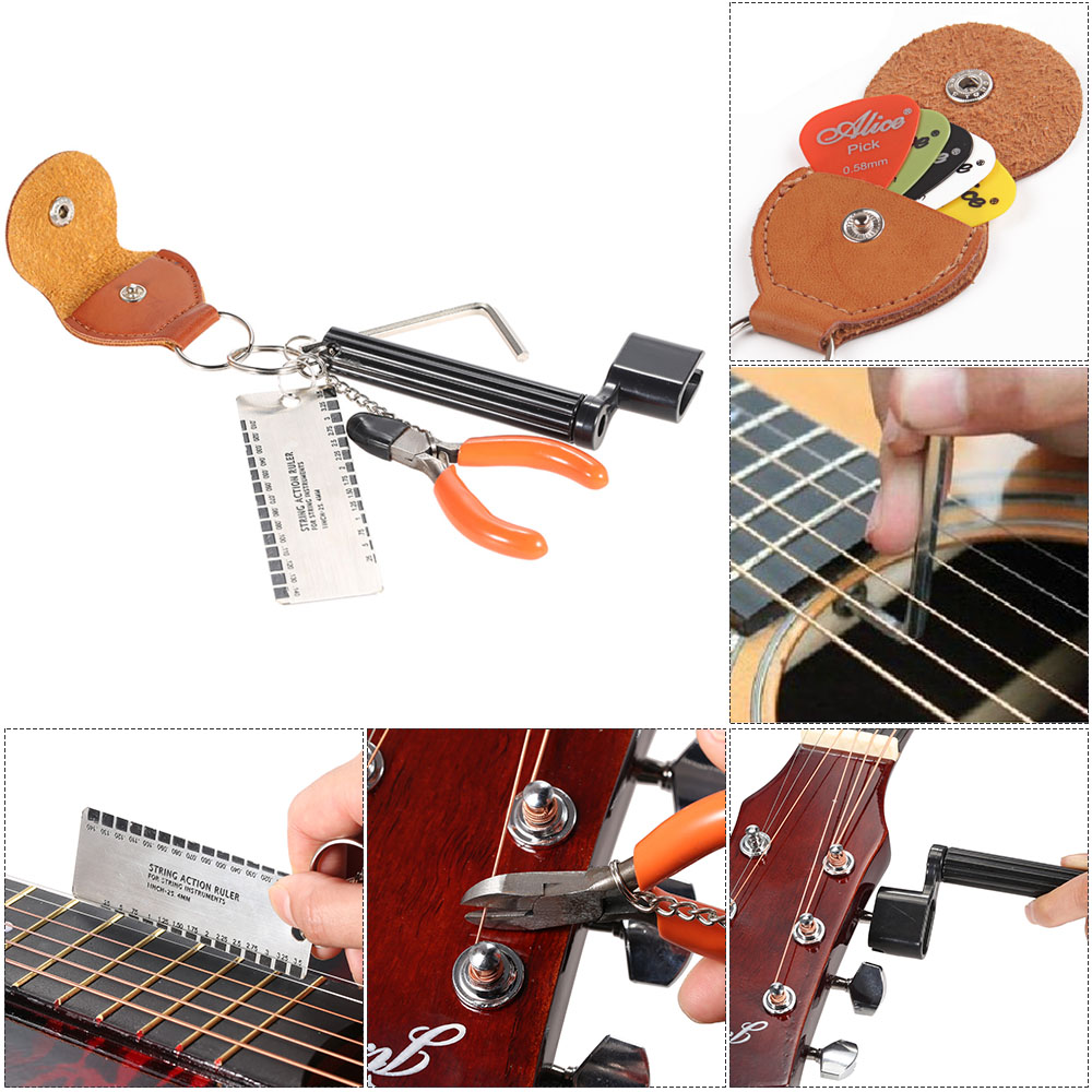 Guitar Repairing Maintenance Tools Guitar Toolkit With String Organizer Guitar Winder String Cutter Bridge Pin Peg Puller String Pure White And Translucent Tool Sets