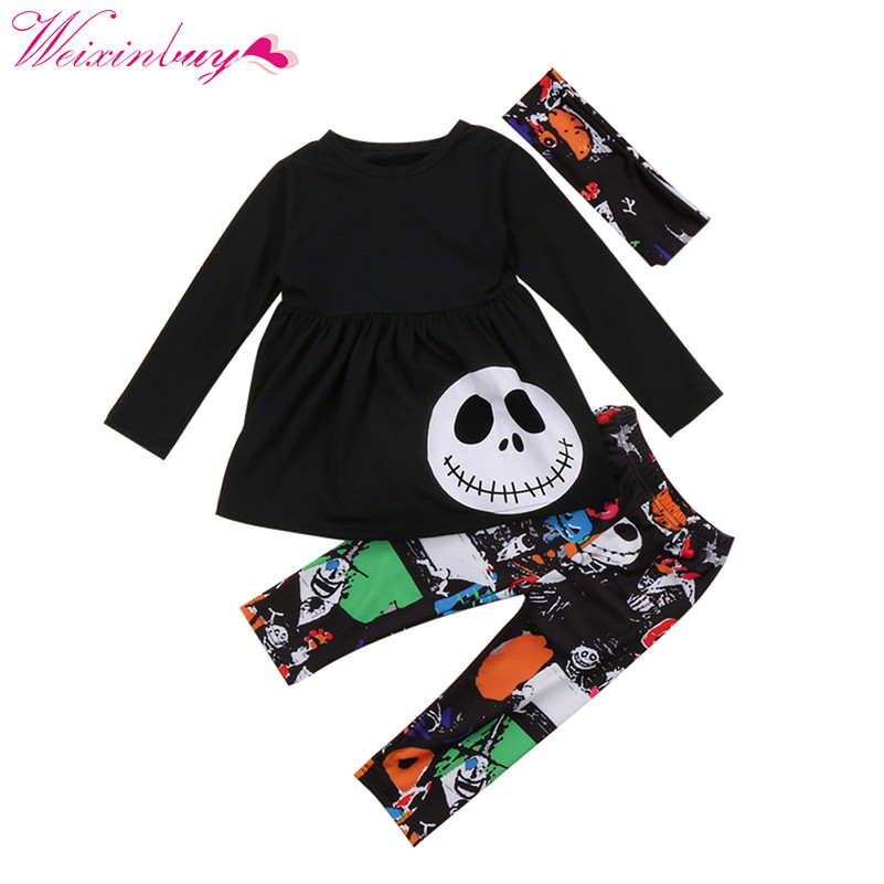 2017 Halloween 3PCS Toddler Kids Baby Girls Autumn Outfits Clothes T-shirt Tops+ Leggings Pants