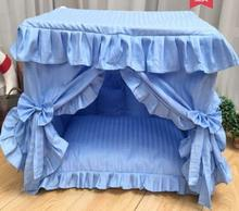 Fresh and washable luxury dog bed high quality pastoral House foldable house delicate princess lace