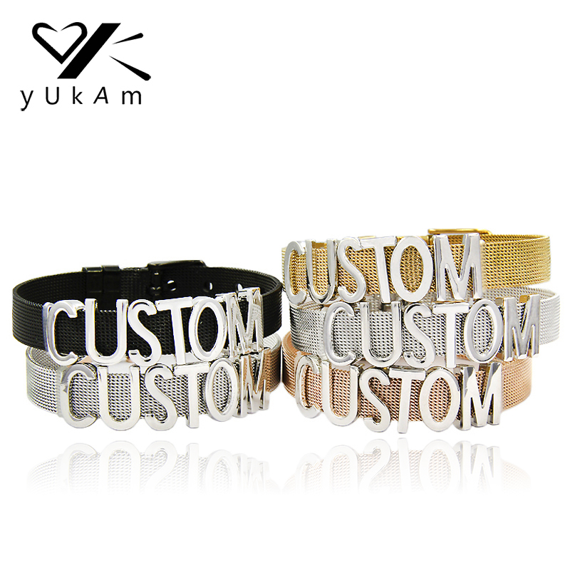 Back To Search Resultsjewelry & Accessories Yukam Jewelry Personalized Custom Name Letters Engraved Bar Slide Charms Keeper For Stainless Steel Mesh Keeper Bracelets Making Crazy Price