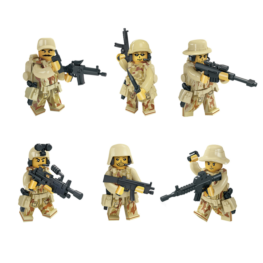 Military Figures Special Forces Building Blocks City CS Commando WW2 Army Soldiers With Weapon Gun Blocks legoed Toy