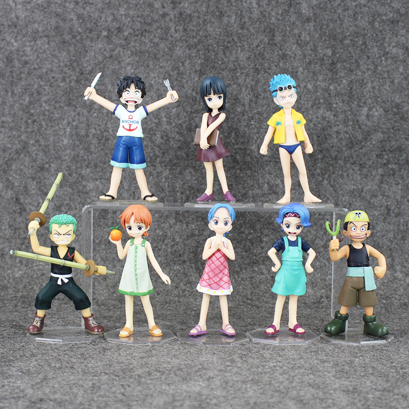 ONE PIECE Childhood Figure LUFFY ZORO ROBIN NAMI Franky SANJI USOPP Japanese Anime Action Figures Kids Toys Figurine Doll new hot 18cm one piece rob lucci cp9 action figure toys collection christmas gift doll no box