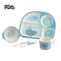 5PCS/Set Kids Tableware Set Plate Bowl Spoon Fork Cup Child Food Feeding Dishware Child Dinnerware Separate Food Container